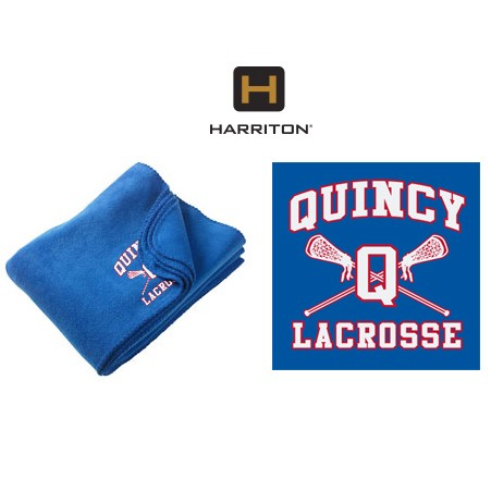 Quincy Lacrosse Harriton Brand Fleece Blanket, Embroidered