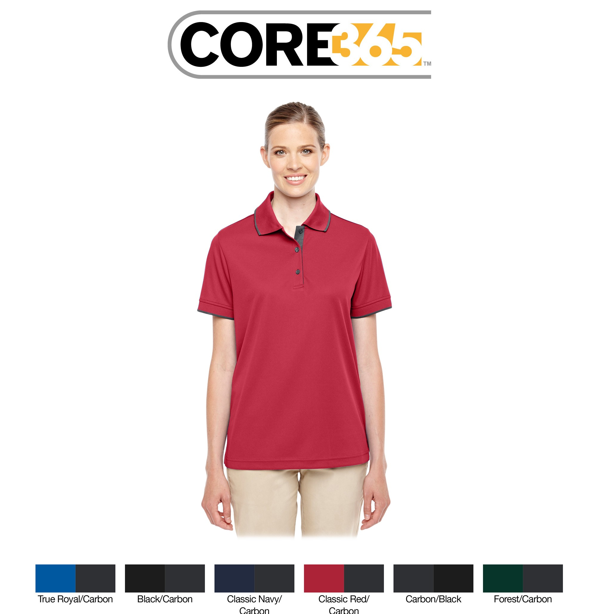 Ash City - Core 365 Ladies' Motive Performance Piqué Polo with Tipped Collar