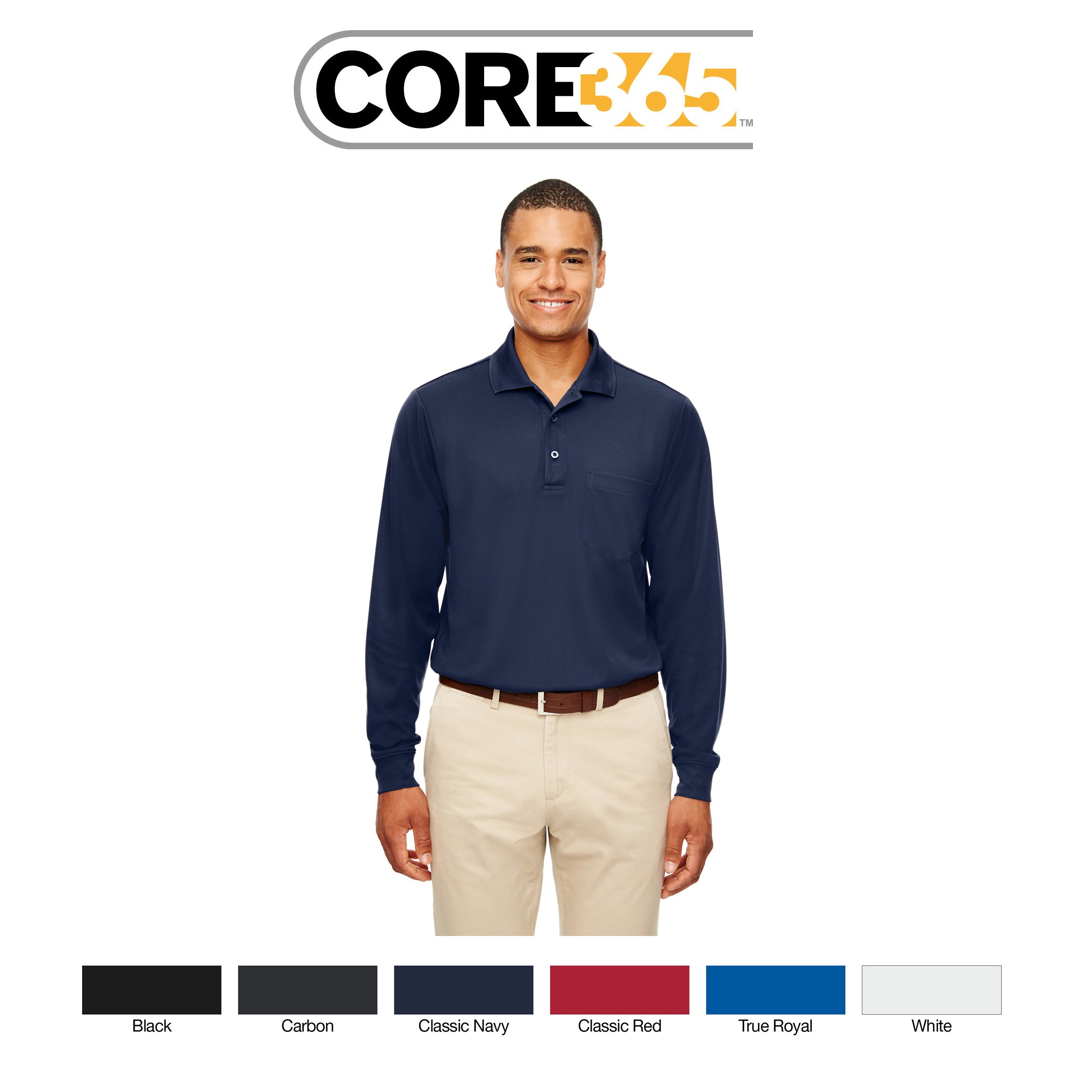 Ash City - Core 365 Adult Pinnacle Performance Long-Sleeve Piqué Polo with Pocket 88192P