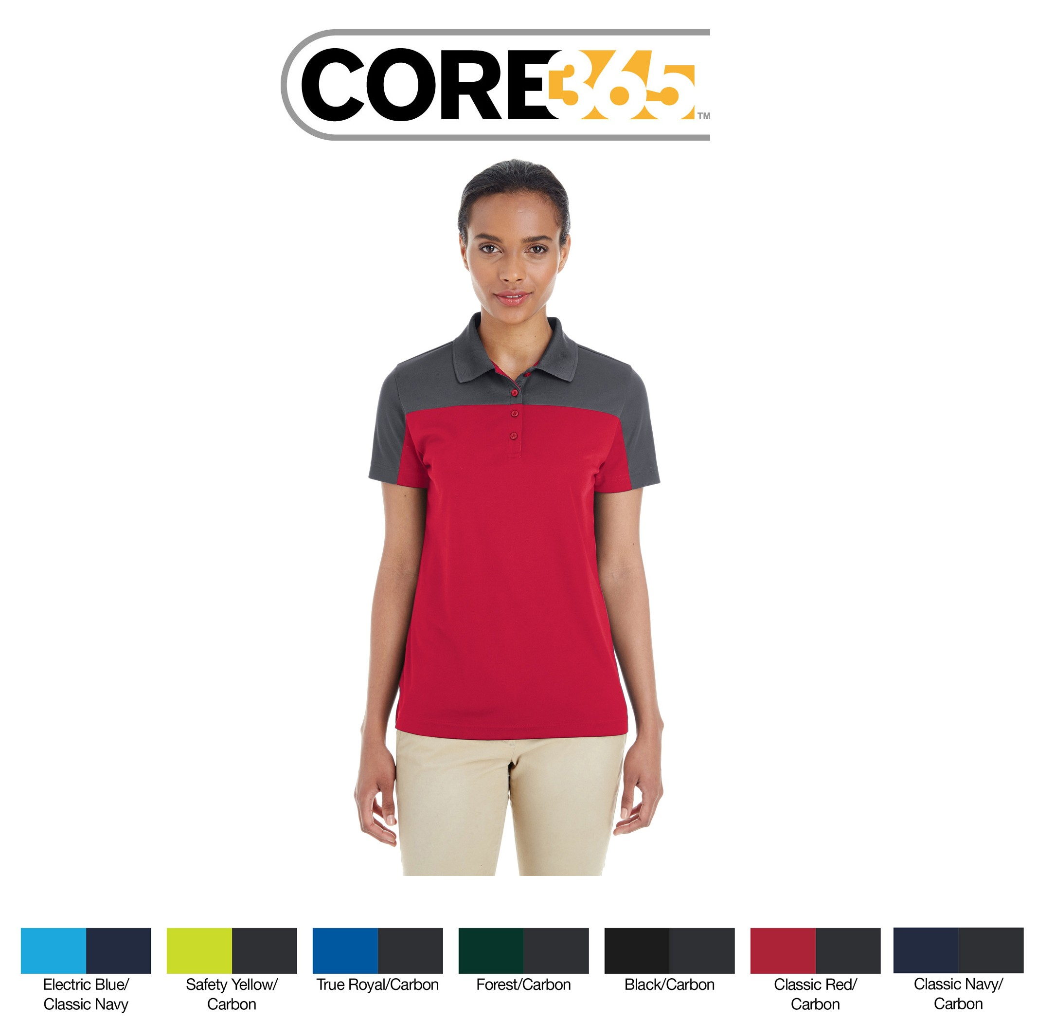 Ash City - Core 365 Ladies' Balance Colorblock Performance Piqué Polo CE101W