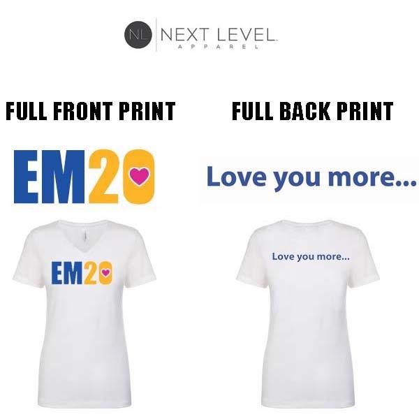 "Emma Ryan Scholarship Fund Next Level Apparel Brand Ideal ""V"" T-Shirt, Ladies' Fit, White"