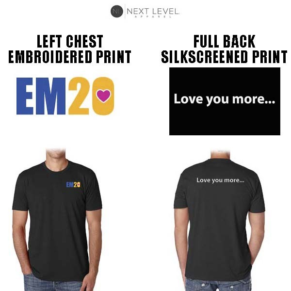 Emma Ryan Scholarship Fund Next Level Apparel Brand CVC Crew Tee, Special Edition, Unisex Adult/Men's Fit, Black, Embroidered Front