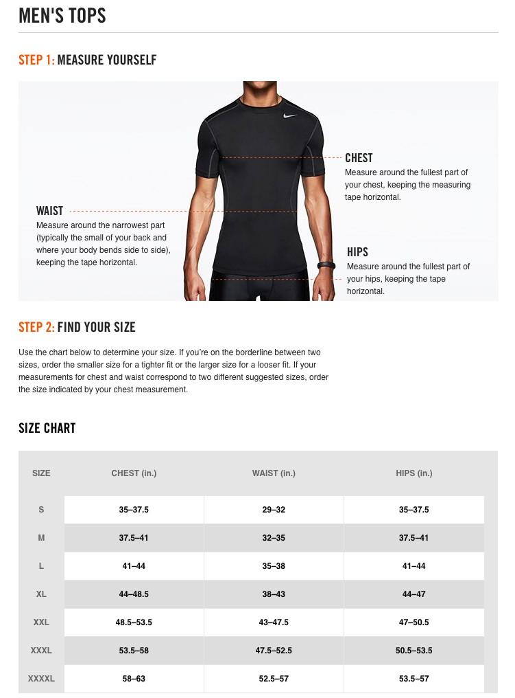 SIZE CHART- Nike