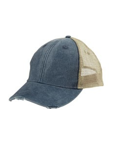 Adams 6-Panel Pigment-Dyed Distressed Trucker Cap