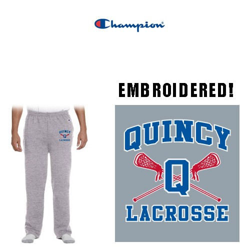 Quincy Lacrosse Champion Brand Open Bottom Sweatpants, Special Edition Embroidered, Adult & Youth