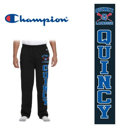 Quincy Lacrosse Champion Brand Open Bottom Sweatpants with Side Pockets, Adult & Youth Fit