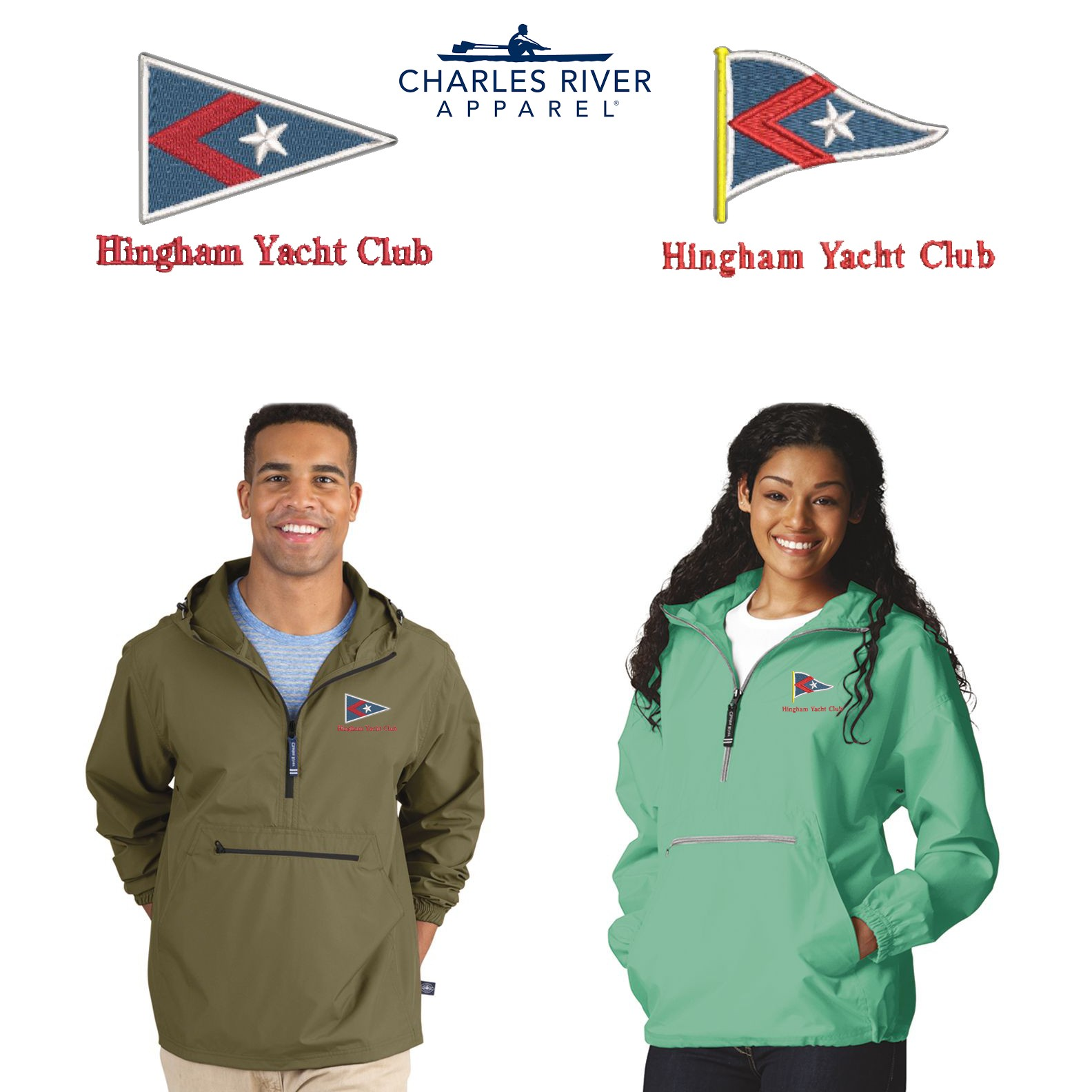 Hingham Yacht Club Charles River Adult Pack-N-Go pullover 9904