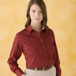 Harriton Ladies' Easy Blend™ Long-Sleeve Twill Shirt with Stain-Release M500W