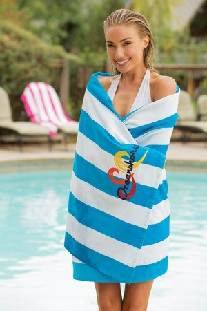 Port & Company® Cabana Stripe Beach Towel PT43