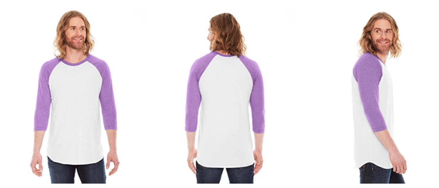 American Apparel Unisex Poly-Cotton 3/4 Sleeve Raglan T-shirt BB453W