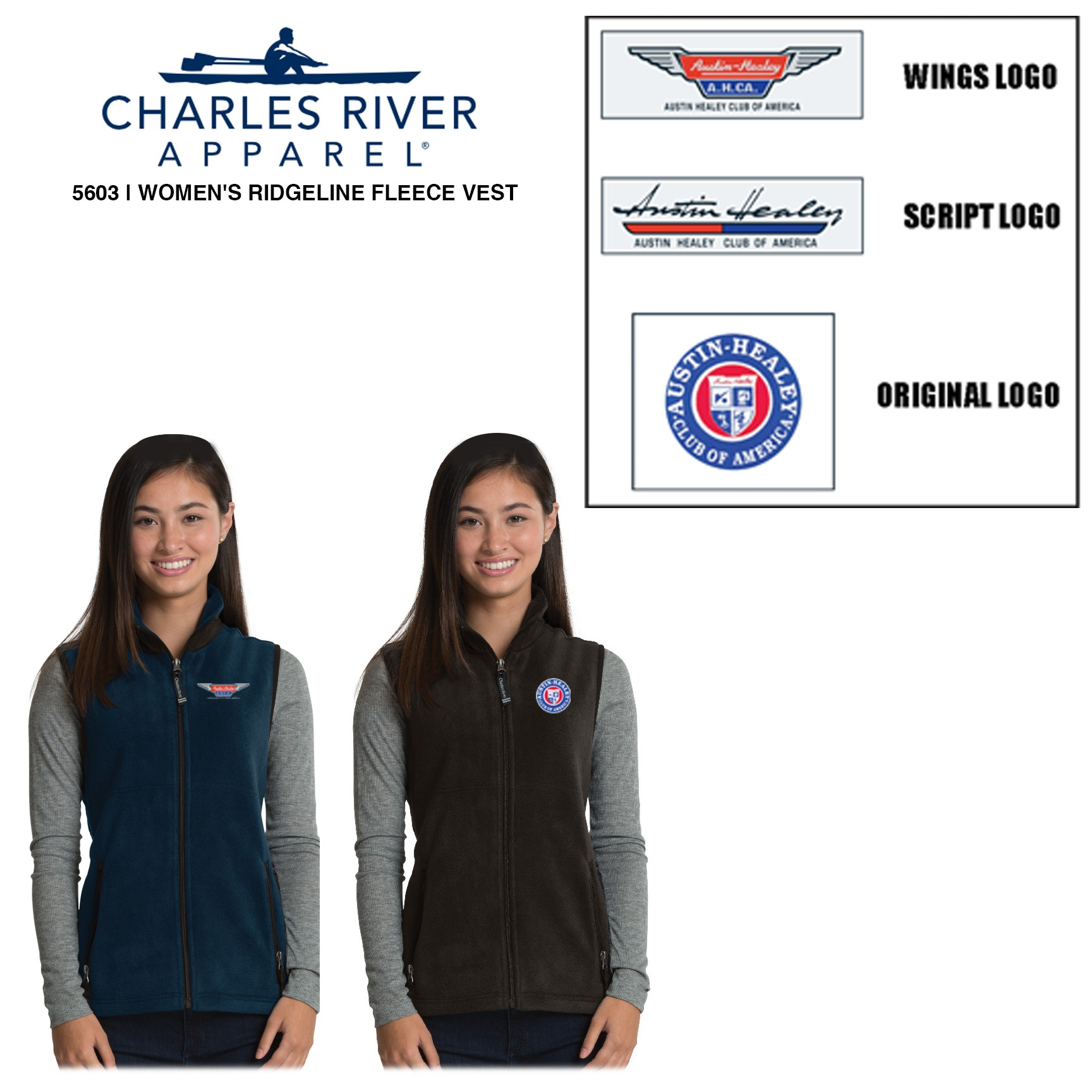AHCA STEP- UP PROGRAM: Charles River Brand Women's Ridgeline Fleece Vest, Style #5603