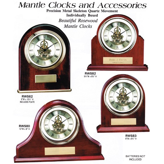 Marco Awards Brand Mantle Clocks in Rosewood or Walnut