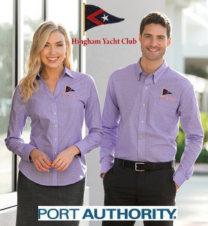 Hingham Yacht Club Port Authority® Mens & Ladies Plaid Pattern Easy Care Shirt For Men & Women