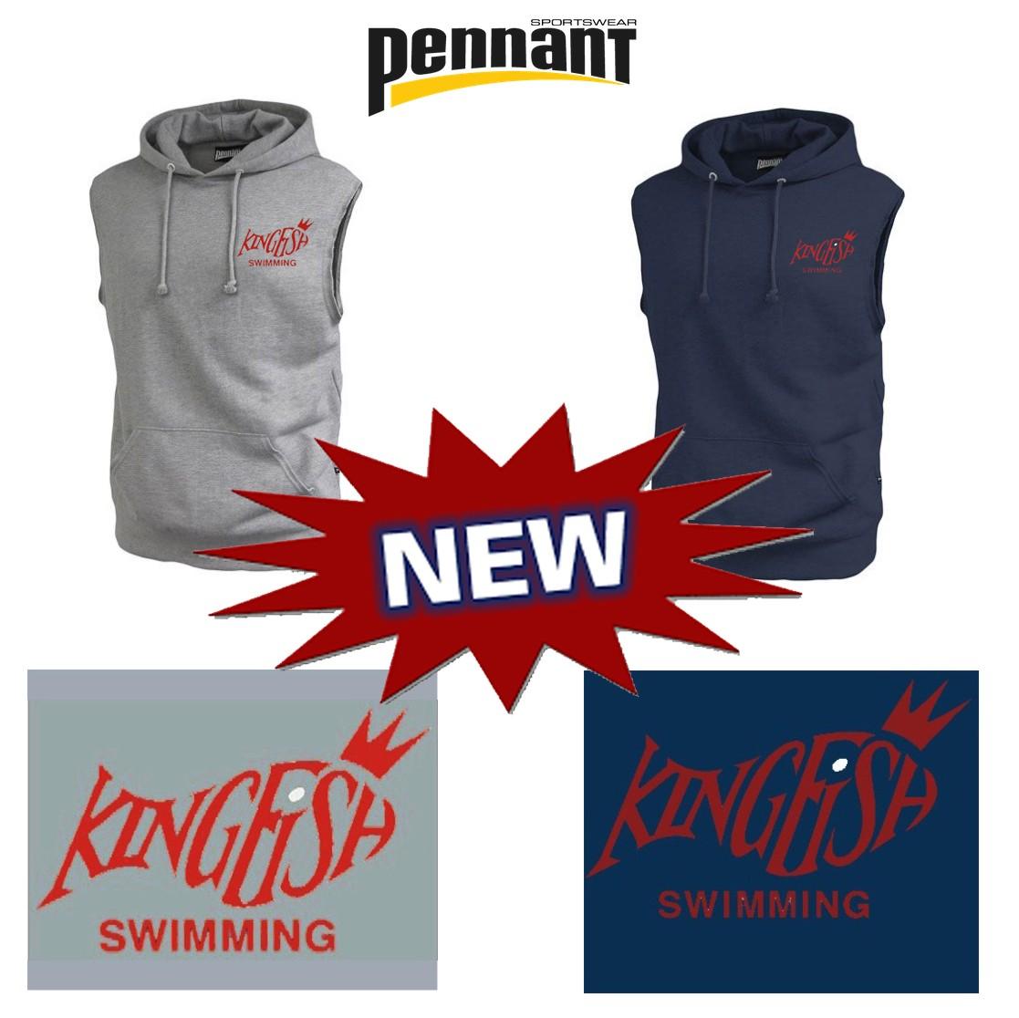 Kingfish Swim Team Pennant Sleeveless Hoodie Premium Deluxe Sleeveless Hoodie #8218- NEW!