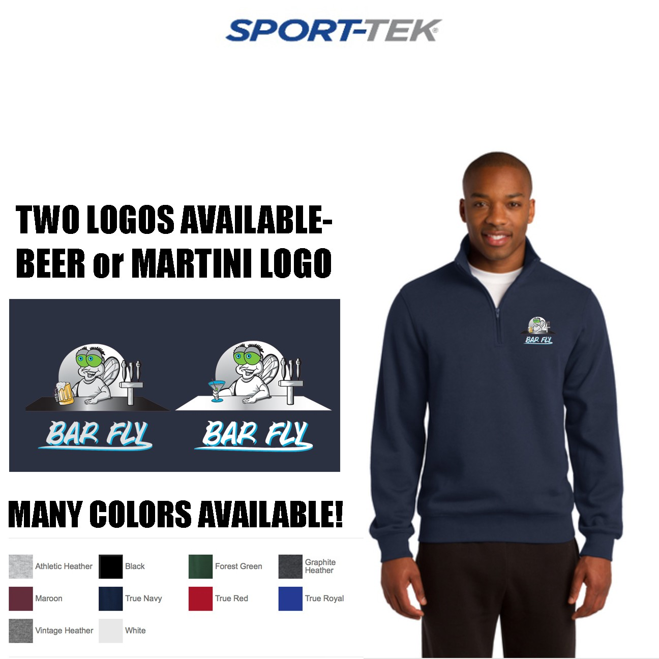 Bar Fly Apparel Sport-Tek 1/4 zip Sweatshirt, Mens Fit