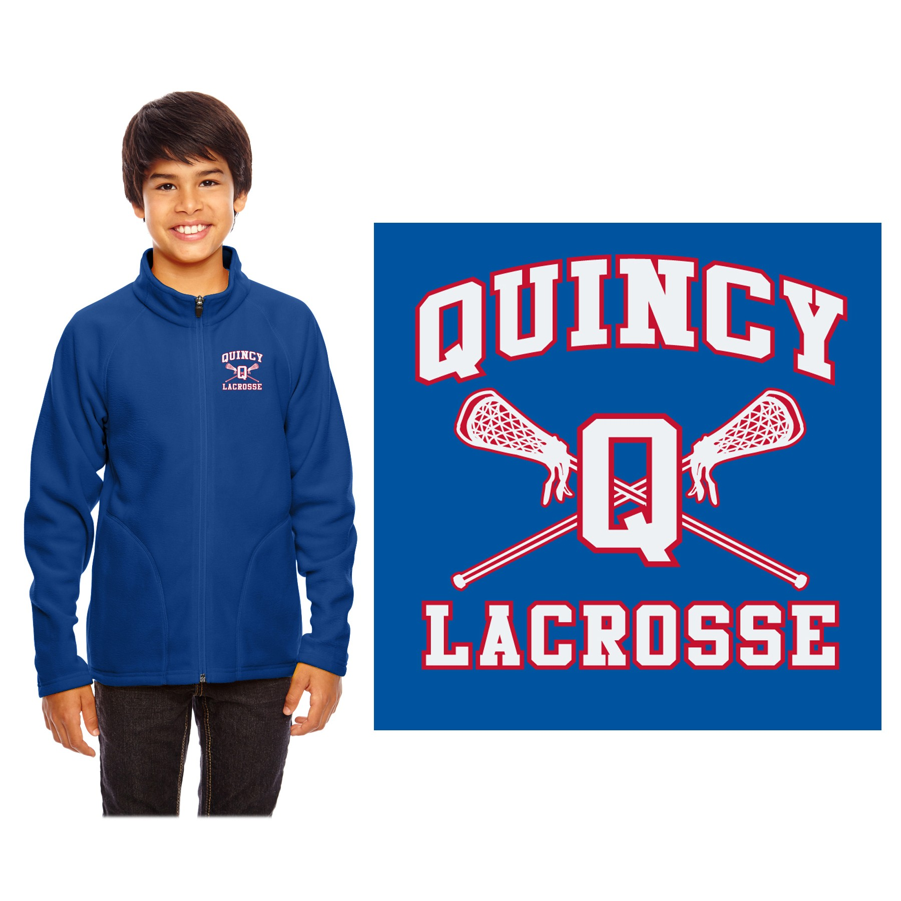 Quincy Lacrosse Team 365 Youth Campus Microfleece Jacket TT90Y