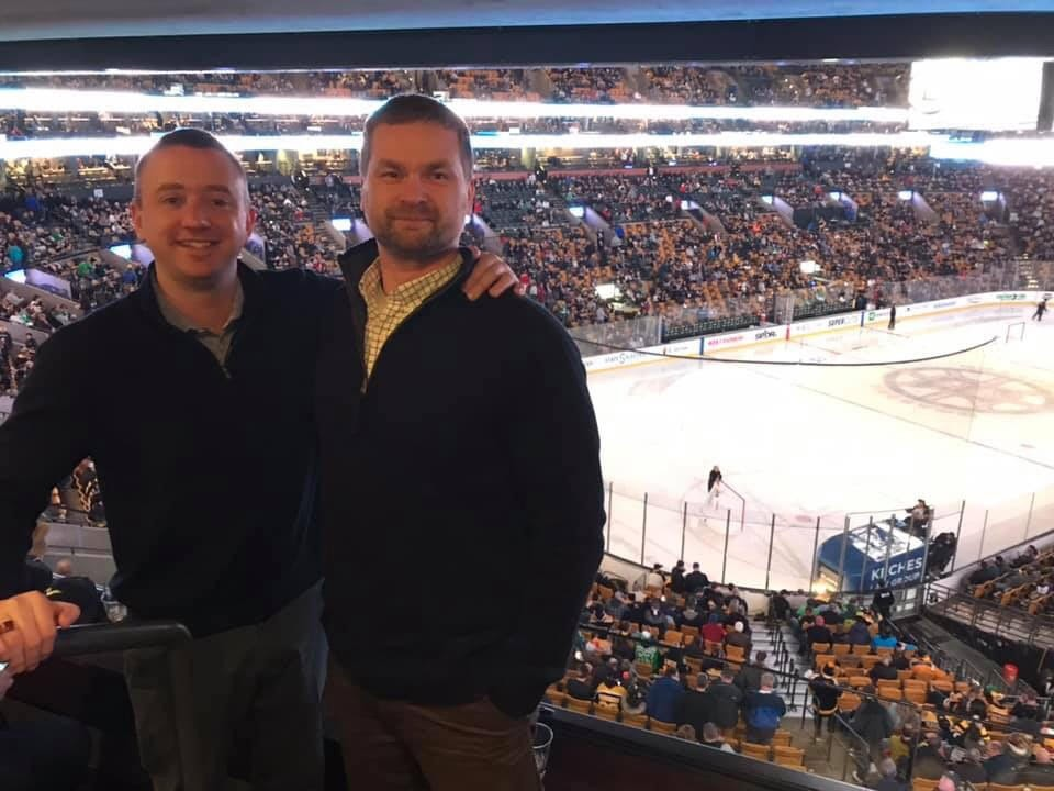 South Shore Hospital Presidents' Circle annual Boston Bruins game, with Johnny and Brian.