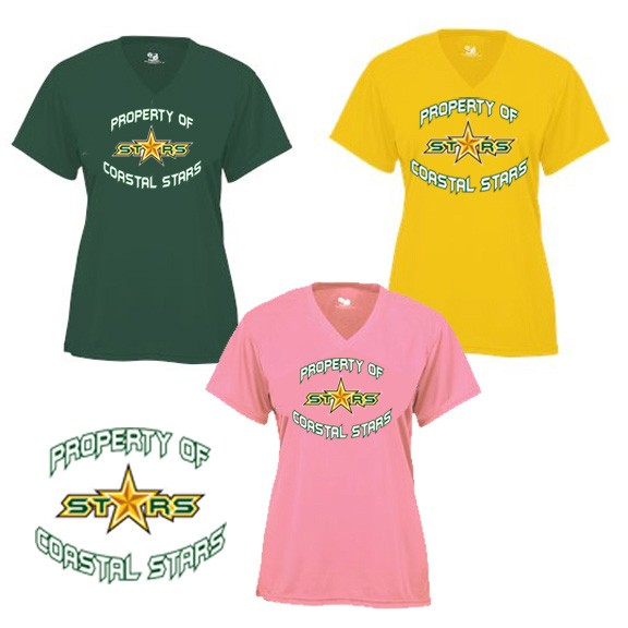 "Coastal Stars Badger Brand Performance Ladies & Girls V-Neck Core Tee, ""PROPERTY OF"" Logo"