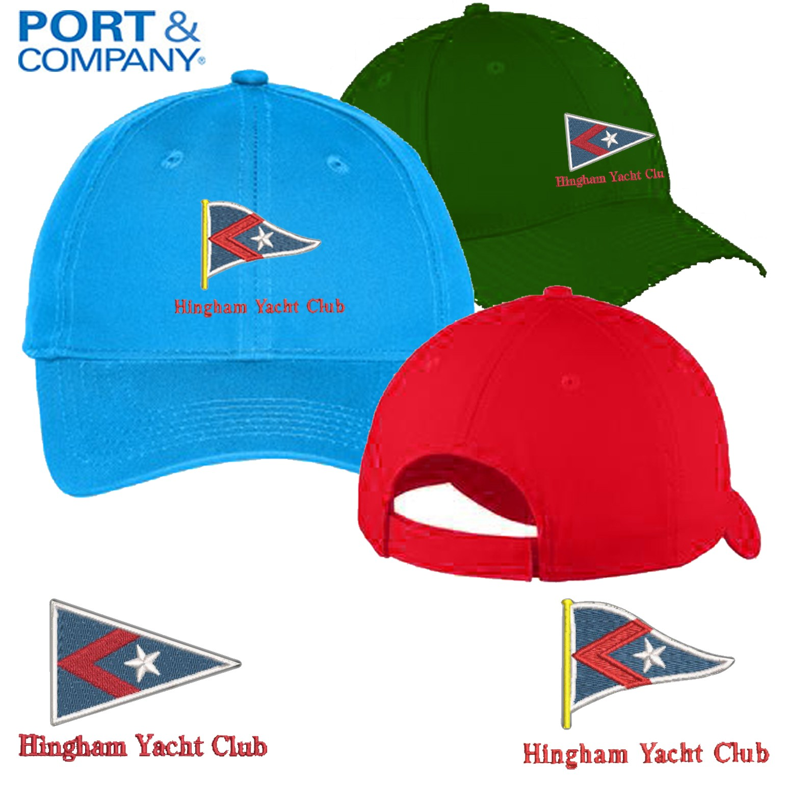Hingham Yacht Club Port & Company® Youth Six-Panel Unstructured Twill Cap YC914