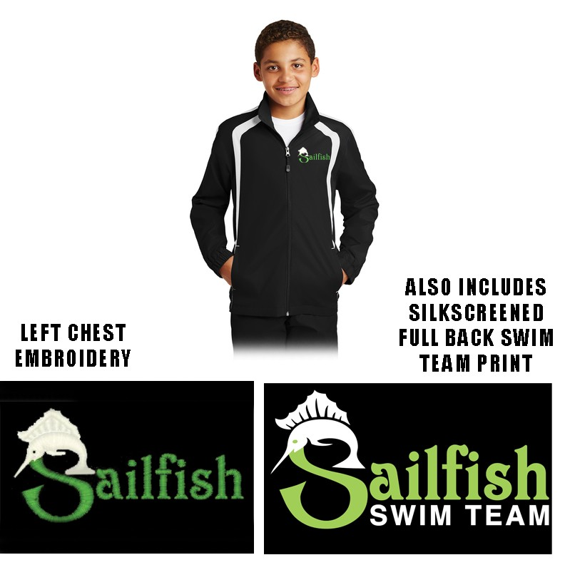 Sailfish Swim Team Sport-Tek® Colorblock Raglan Jacket, Youth