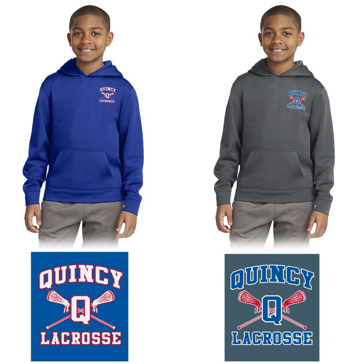 Quincy Lacrosse Sport-Tek® Youth Sport-Wick® Fleece Hooded Pullover. YST244